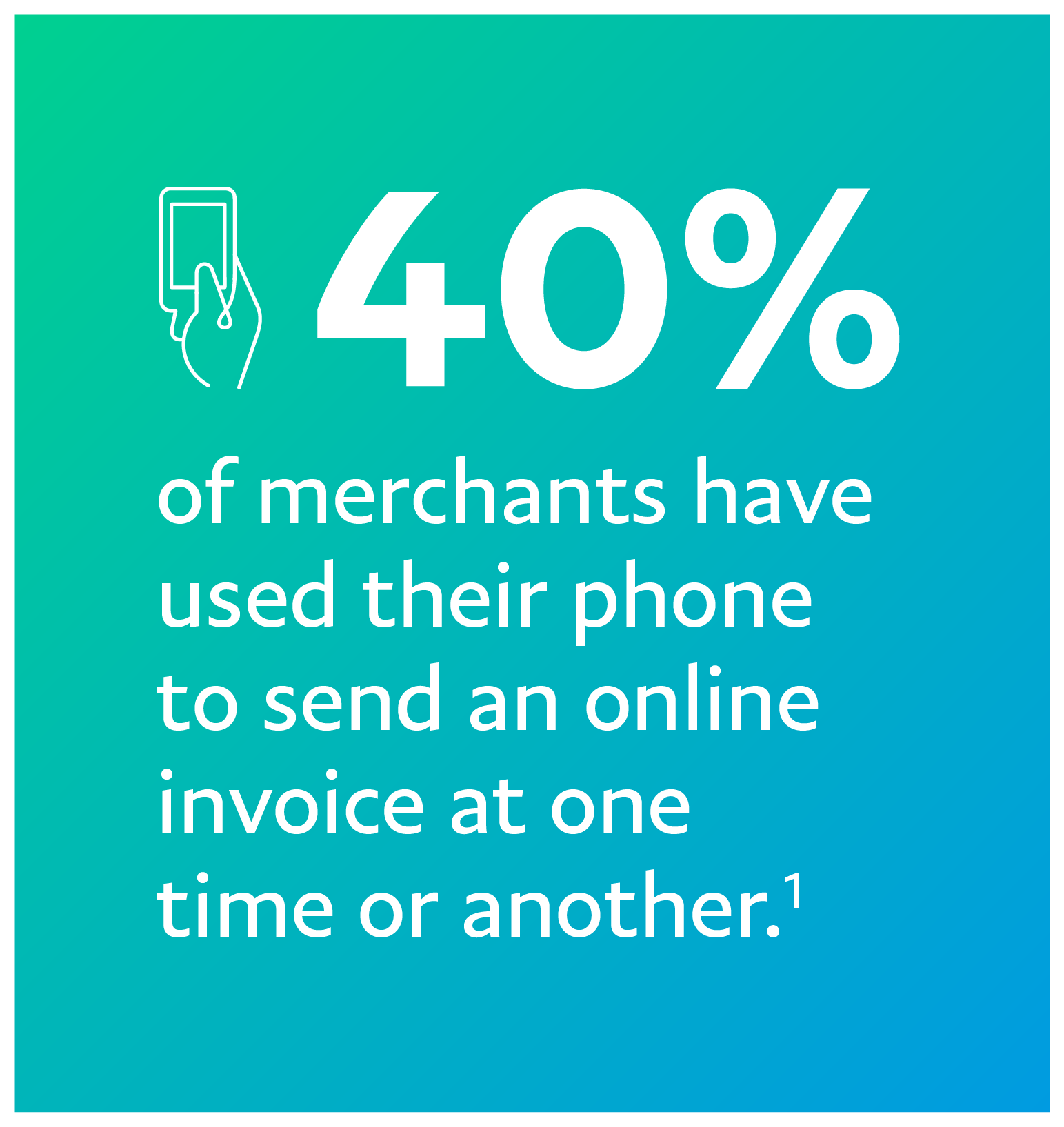 Text that states 40% of merchants have sent an invoice from their phone.