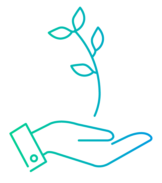 Line drawing of a hand holding a sprouting plant.