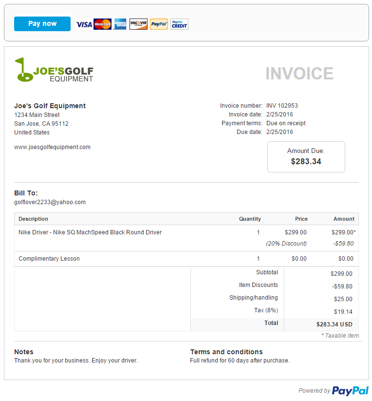 To Illustrate How PayPal Invoicing Can Work For You Lets Look At Joe Harper Owner Of Joes Golf Equipment