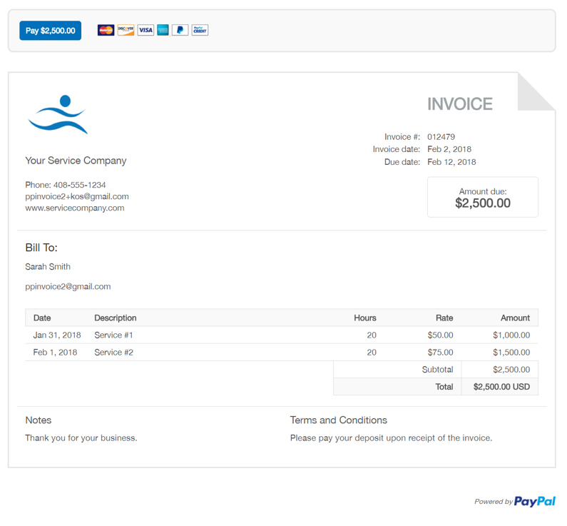 Free Professional Freelancer Invoice Template PayPal - Invoices template