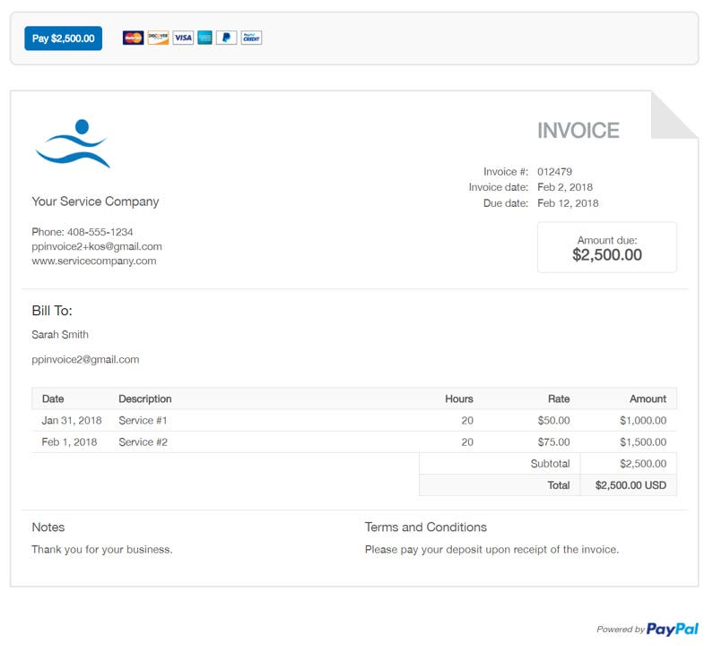 Free Professional Freelancer Invoice Template PayPal - Free sample invoice for service business