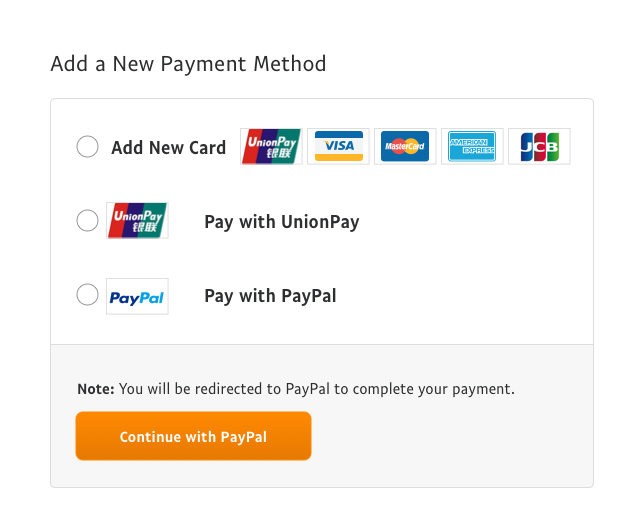 Add a new payment method