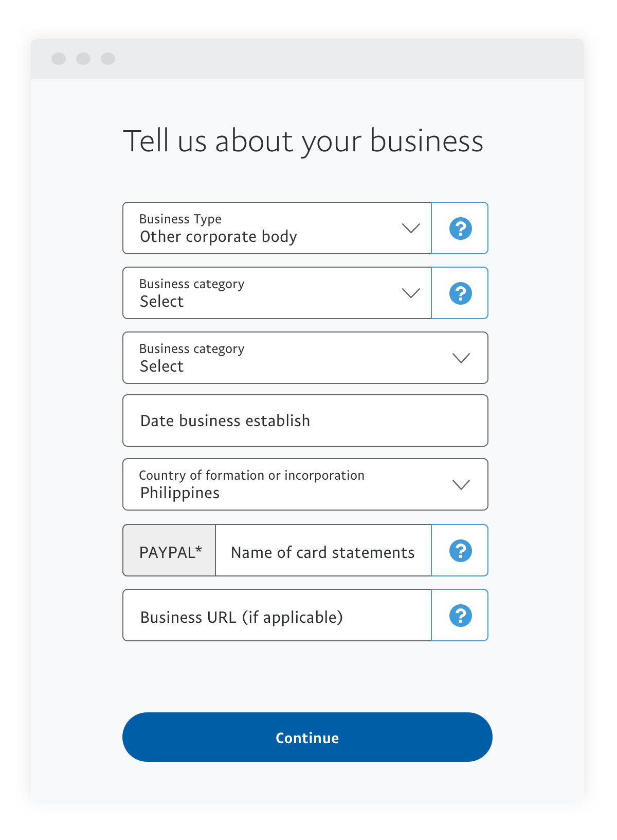 Tell us about your business step 1.2