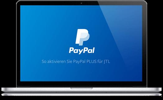 Billede af en bærbar computer med Paypal -websted vist på skærmen
