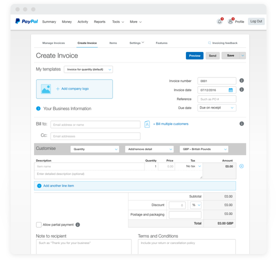Paypal Invoicing Geccetackletartsco - Create and send invoices