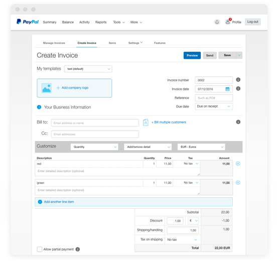 Email Invoices PayPal Business Solutions - Create invoice email