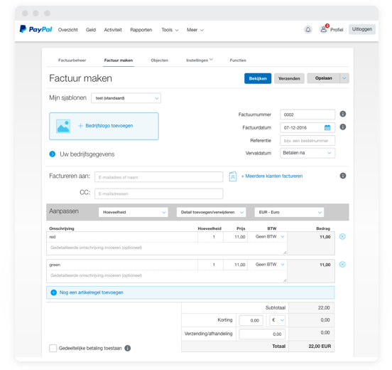 paypal factuur maken Facturen   Een online factuur maken | PayPal NL