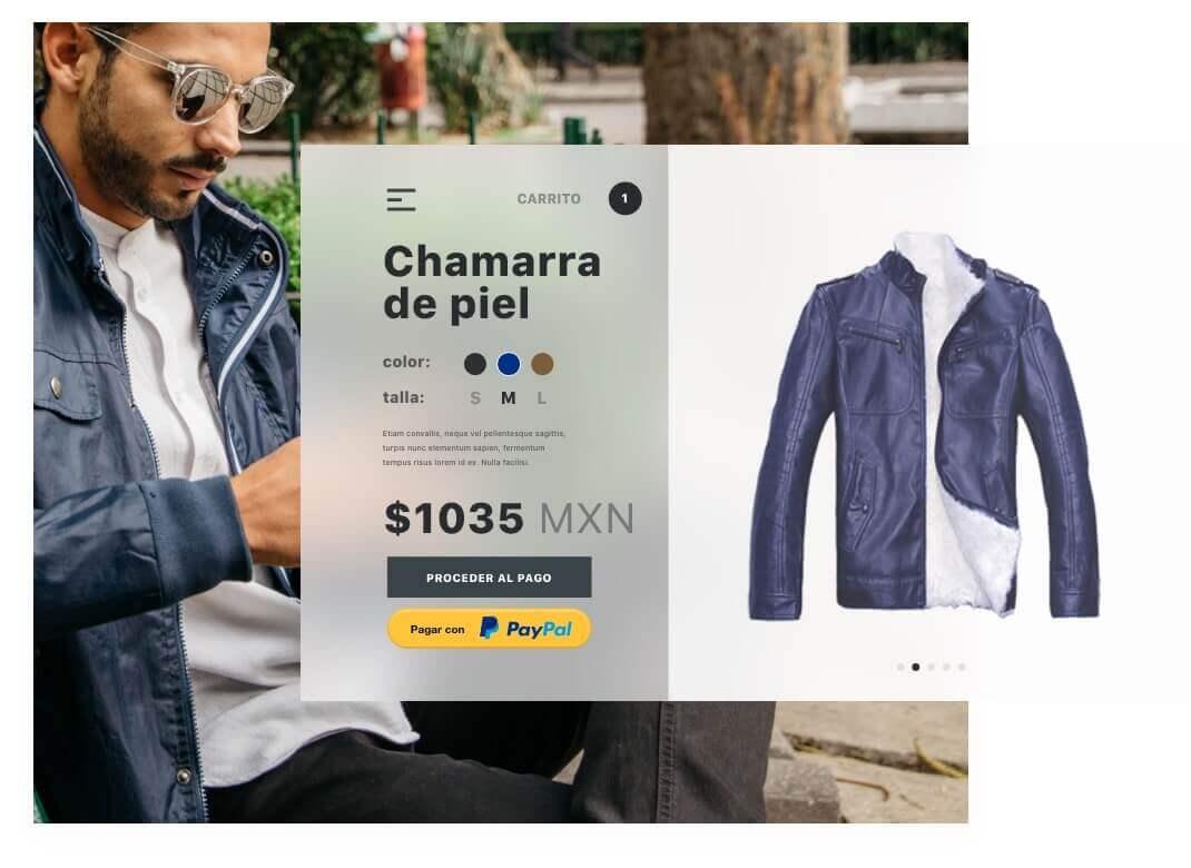 Imagen de un chico comprando  en línea una chaqueta de cuero azul