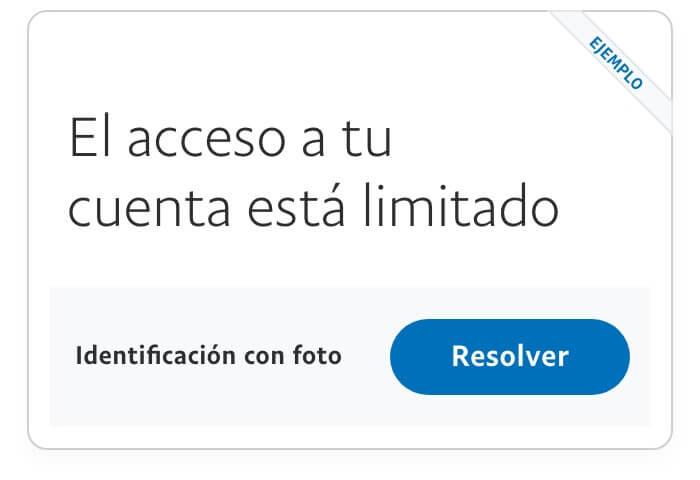 Ejemplo de imagen de limitación de acceso a cuenta