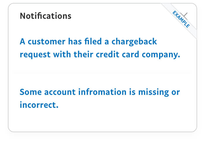 Chargeback notifications image example