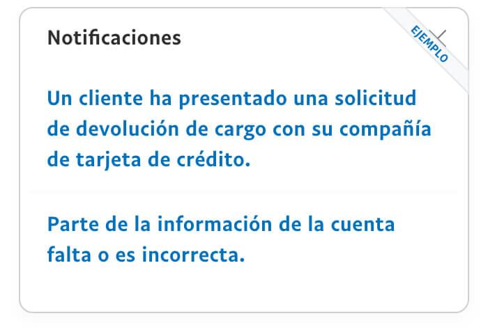 Ejemplo de imagen de notificaciones sobre contracargos