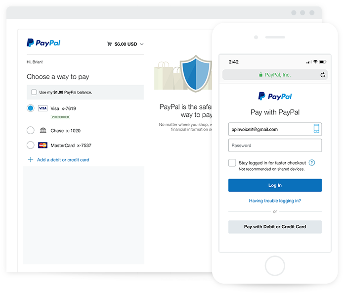 Customer pays invoice with credit card, PayPal account, or PayPal Credit