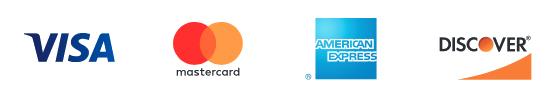 Visa, Mastercard, American Express, and Discover logos