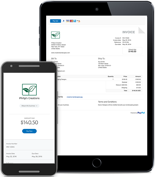 Free Online Invoicing Templates From PayPal - Invoice template for android phone
