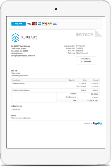 Opposenewapstandardsus  Pleasing Invoice Template Email Invoicing Generator  Paypal Us With Entrancing Invoice Payment Terms Example Besides Invoice Apps For Ipad Furthermore What Is The Difference Between Msrp And Invoice Price With Comely Car Invoice Price Finder Also Best Invoicing Software For Freelancers In Addition Commercial Invoice Format And Small Business Invoice Software Free As Well As Sample Invoice Word Doc Additionally Canadian Customs Invoice Instructions From Paypalcom With Opposenewapstandardsus  Entrancing Invoice Template Email Invoicing Generator  Paypal Us With Comely Invoice Payment Terms Example Besides Invoice Apps For Ipad Furthermore What Is The Difference Between Msrp And Invoice Price And Pleasing Car Invoice Price Finder Also Best Invoicing Software For Freelancers In Addition Commercial Invoice Format From Paypalcom
