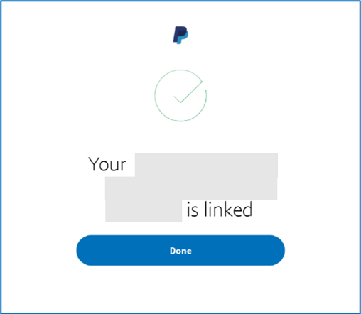 Presentation image: Your Bank Account is now linked message