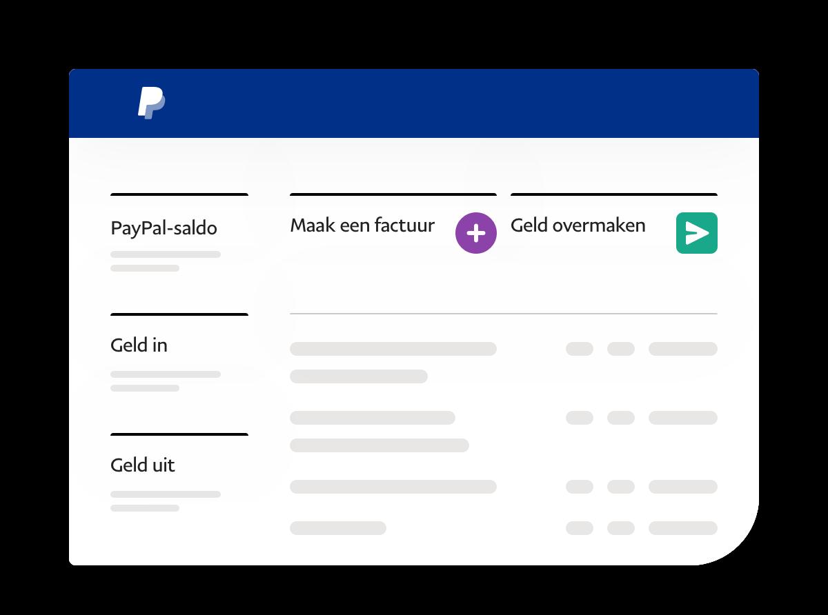 Screenshot van een app waarop saldo, geld in, geld uit en actielinks staan.