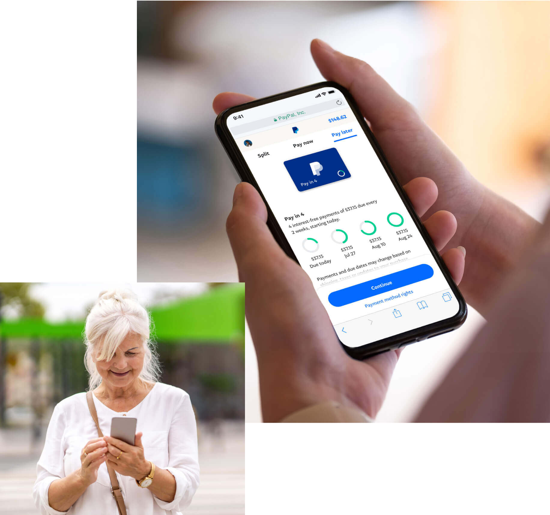 Woman looking at the payment options in the PayPal App on her phone