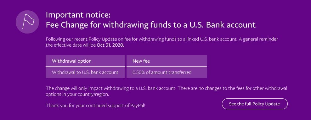 Fee Change for withdrawing funds to a U.S. Bank account