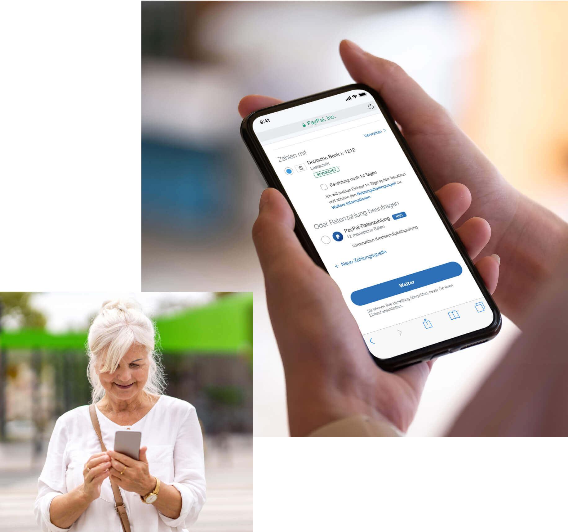 Eine Frau sieht sich die Ratenzahlungsoptionen bei der Bezahlung mit PayPal auf Ihrem Handy an