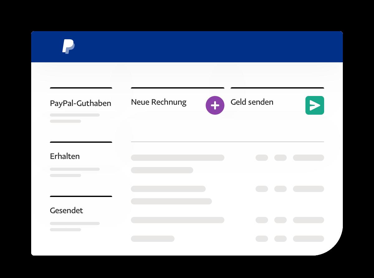 App-Screenshot, der Guthaben, Geldein- und -ausgänge sowie Aktionslinks zeigt.