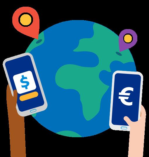 Geld direkt an Bankkonten senden - weltweit