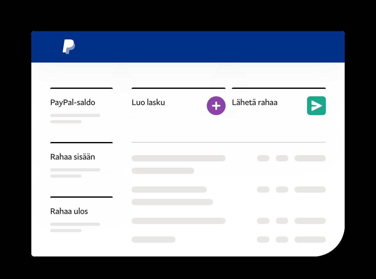 Sovelluskuvankaappaus, jossa näkyvät saldo, lähetetyt rahat, saadut rahat ja toimintolinkit.