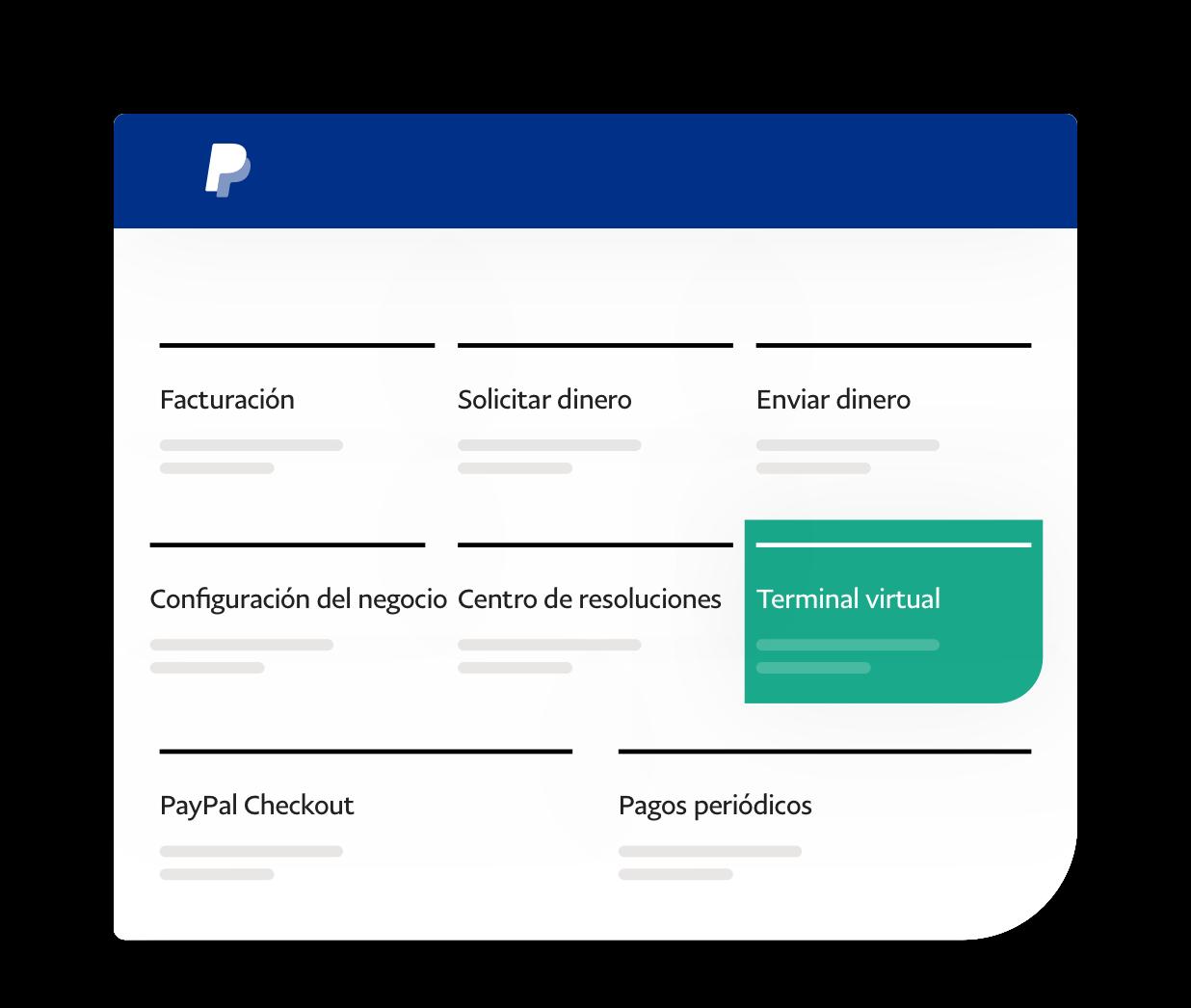Captura de pantalla de la aplicación que muestra las aplicaciones disponibles, destacando el terminal virtual.