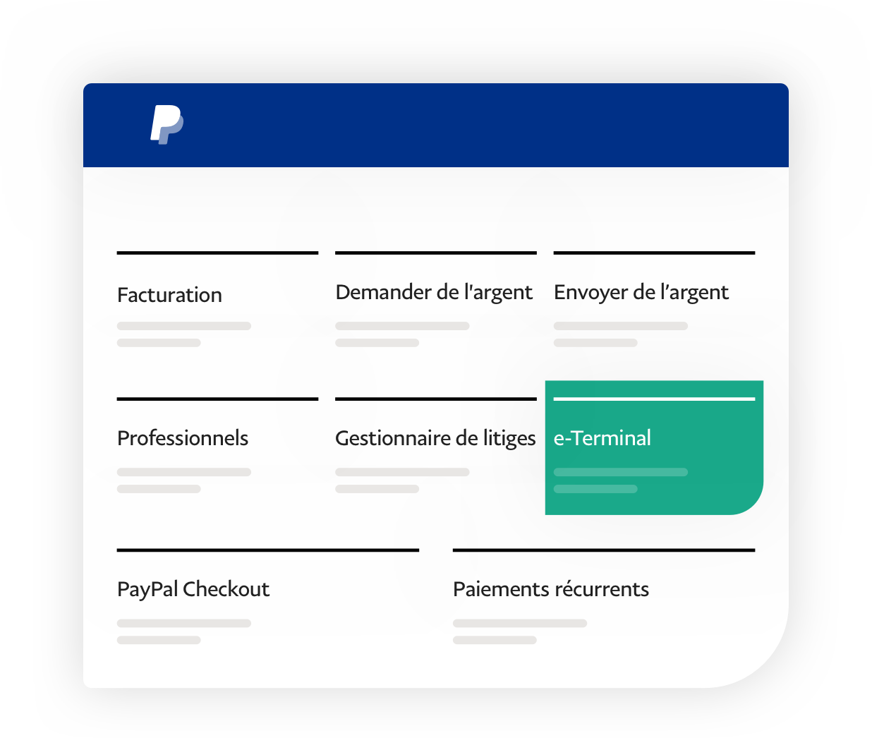 Capture d'écran d'application montrant les applications disponibles, avec l'e-Terminal ressortant sur fond vert.