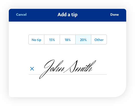 App screenshot showing tip and signature.