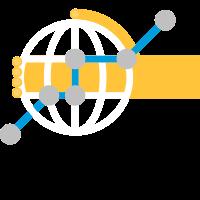 Dessin d'une main jaune entourant un globe et points reliés.