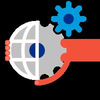 Dessin d'une main rouge entourant un globe avec une roue dentée grise et une autre bleue.