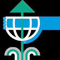 Dessin d'une main bleue entourant un globe avec une flèche verte.