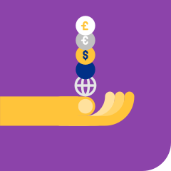 Illustrative white and yellow wrench shapes and currency symbols over a purple square.