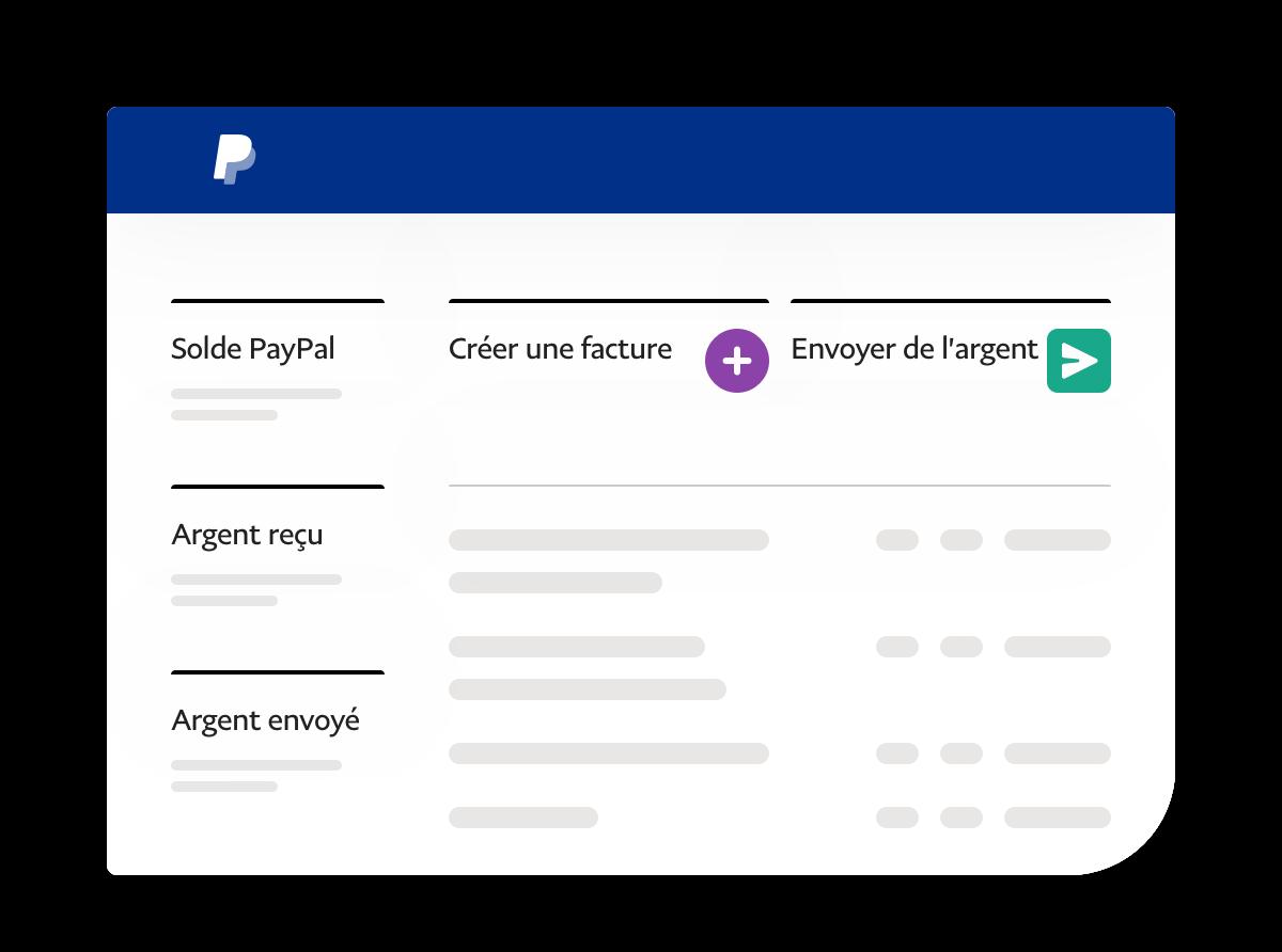 Capture d'écran d'application montrant le solde, l'argent reçu, l'argent envoyé et des liens actionnables.