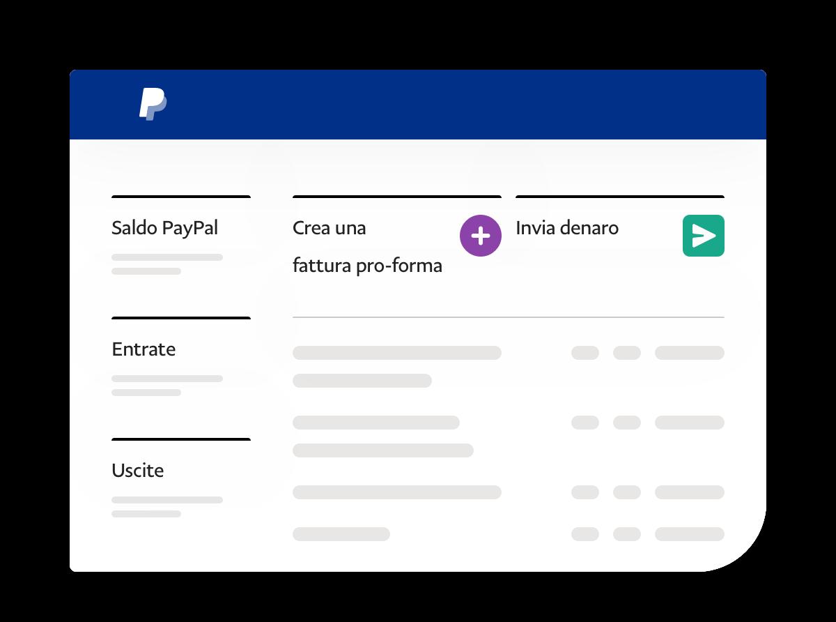 Screenshot dell'app che mostra il saldo, il denaro in entrata e in uscita e due link per effettuare operazioni.