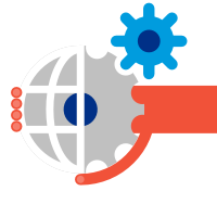 Illustrative red hand around globe with grey and blue gears.