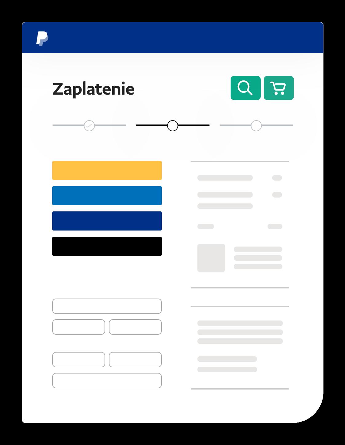 Snímka obrazovky pre platbu.