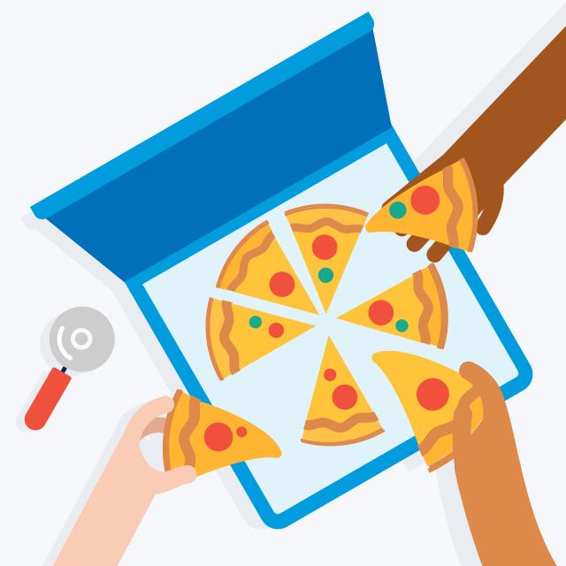 Comer pizza con amigos