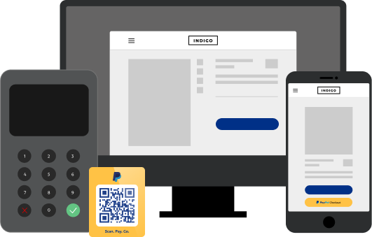 Illustration of PayPal products on mobile, QR tab, tablet