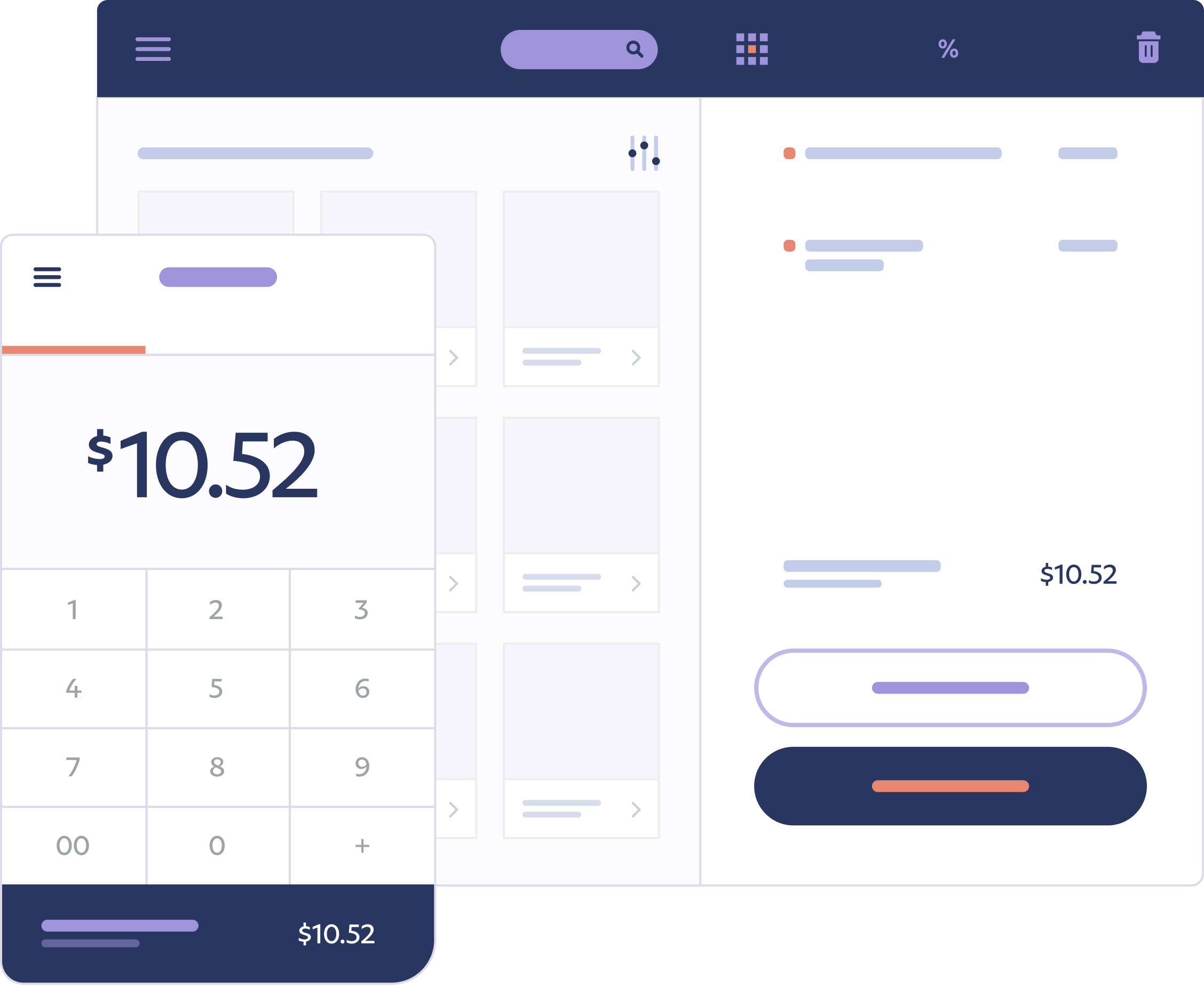 An illustration that represents the PayPal Business account dashboard and PayPal tools that business owners use