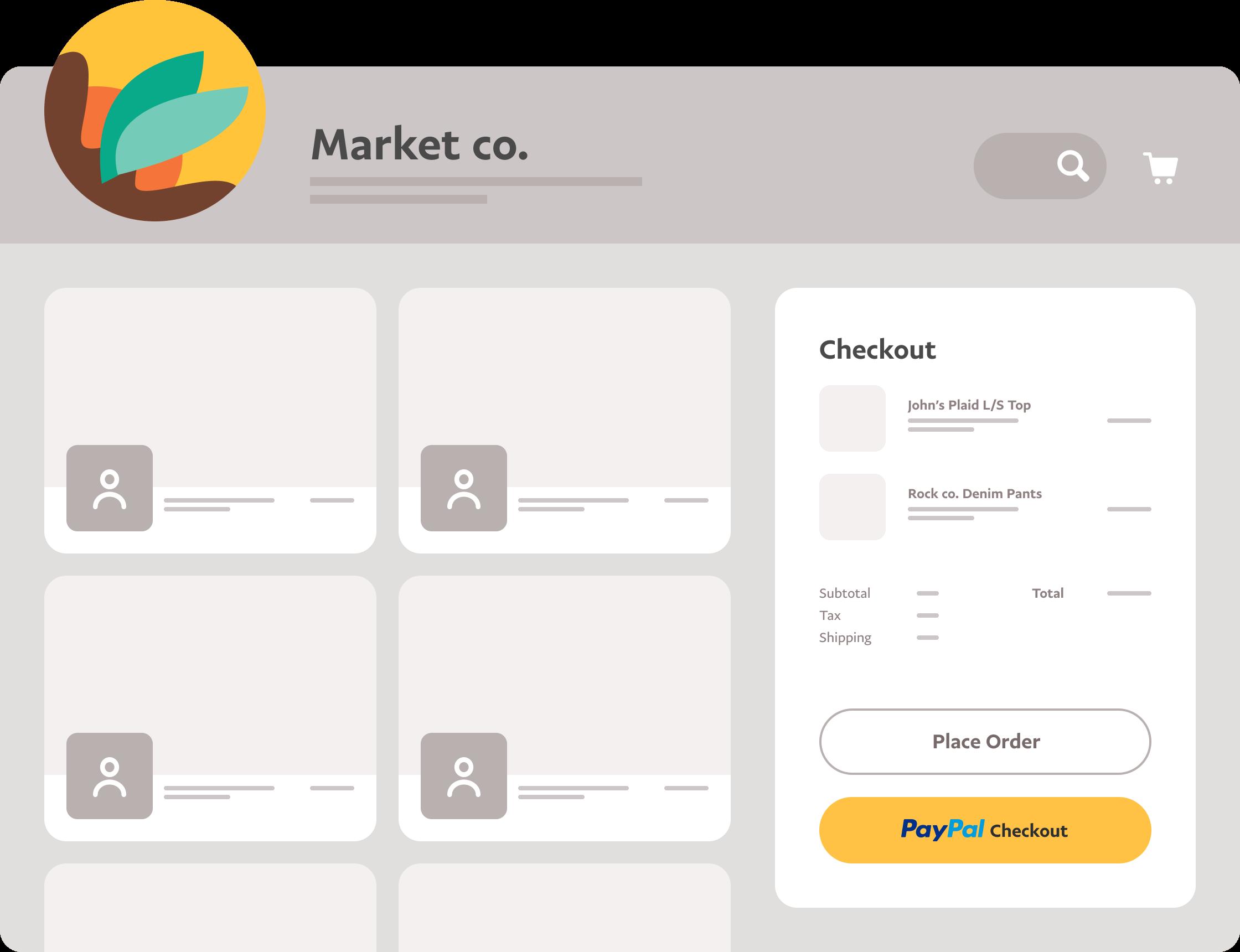 시장에서 상품을 결제하는 데 PayPal Checkout이 사용되고 있음을 보여주는 대시보드