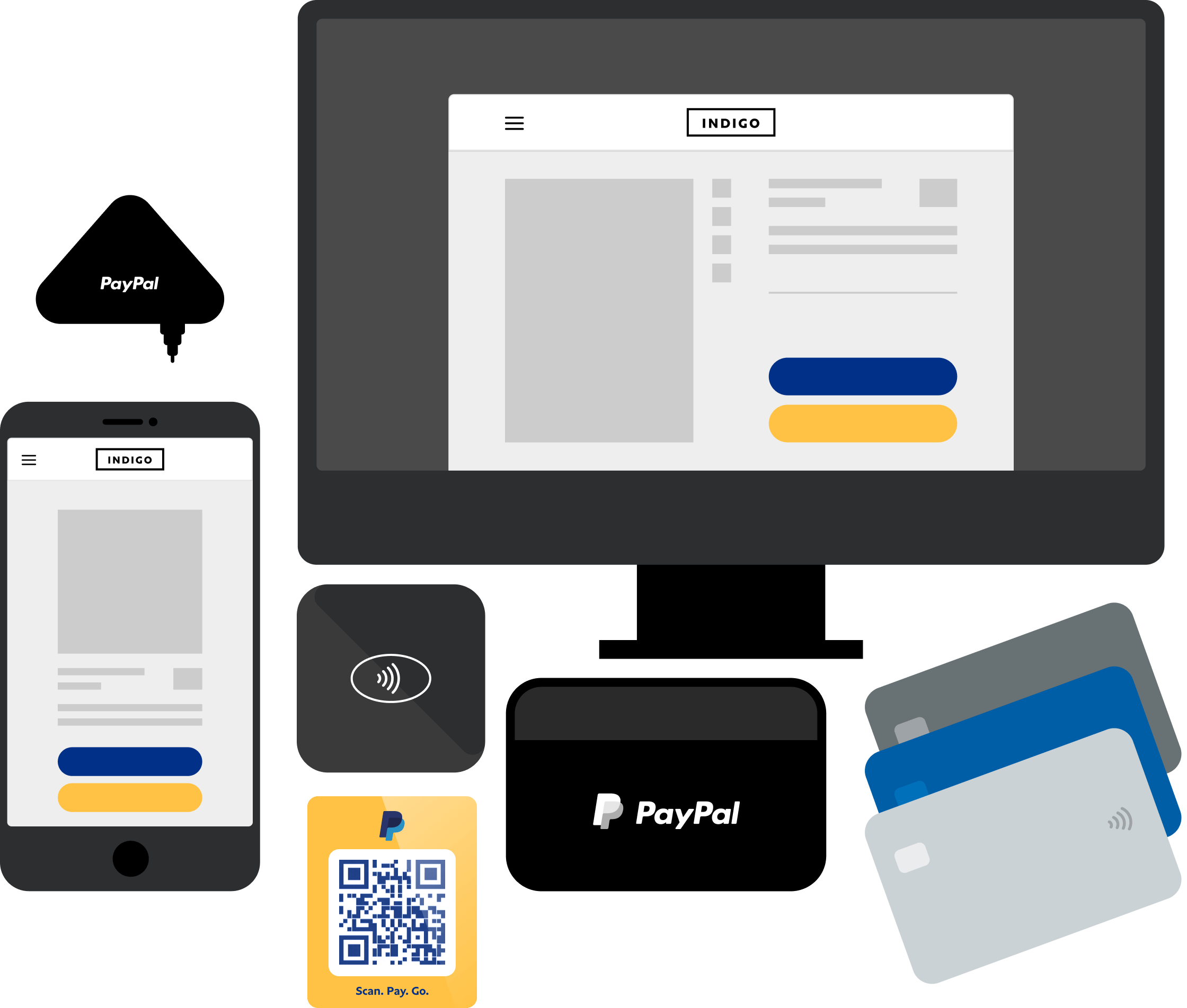 An illustration that represents different ways a business can get paid with PayPal including PayPal Checkout, QR codes, and e-invoices