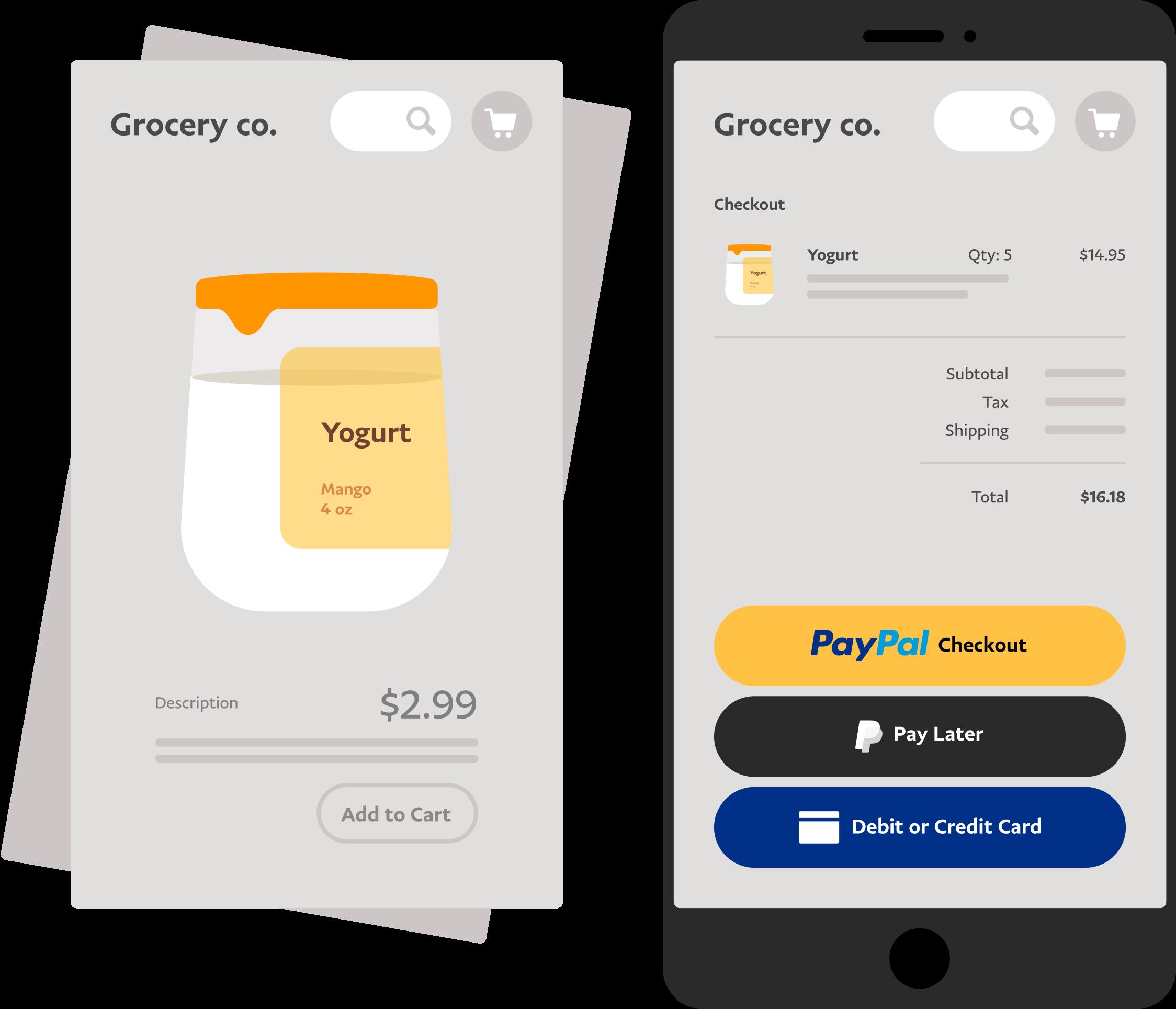 หน้าจอโทรศัพท์มือถือที่กำลังใช้งาน PayPal Checkout ในการซื้อสินค้าที่ร้านค้าที่ขายสินค้าได้ทั่วไป