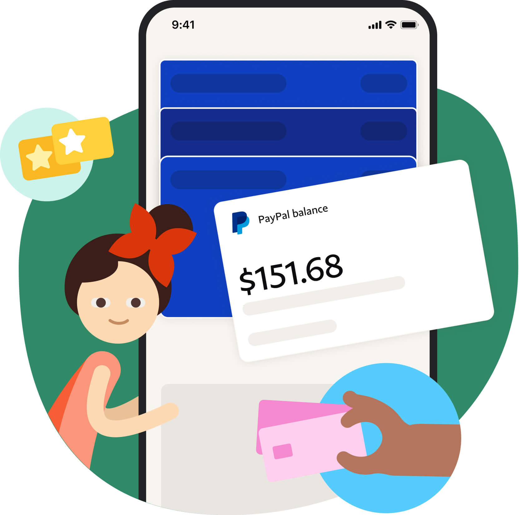 Person beside paypal payment image on phone