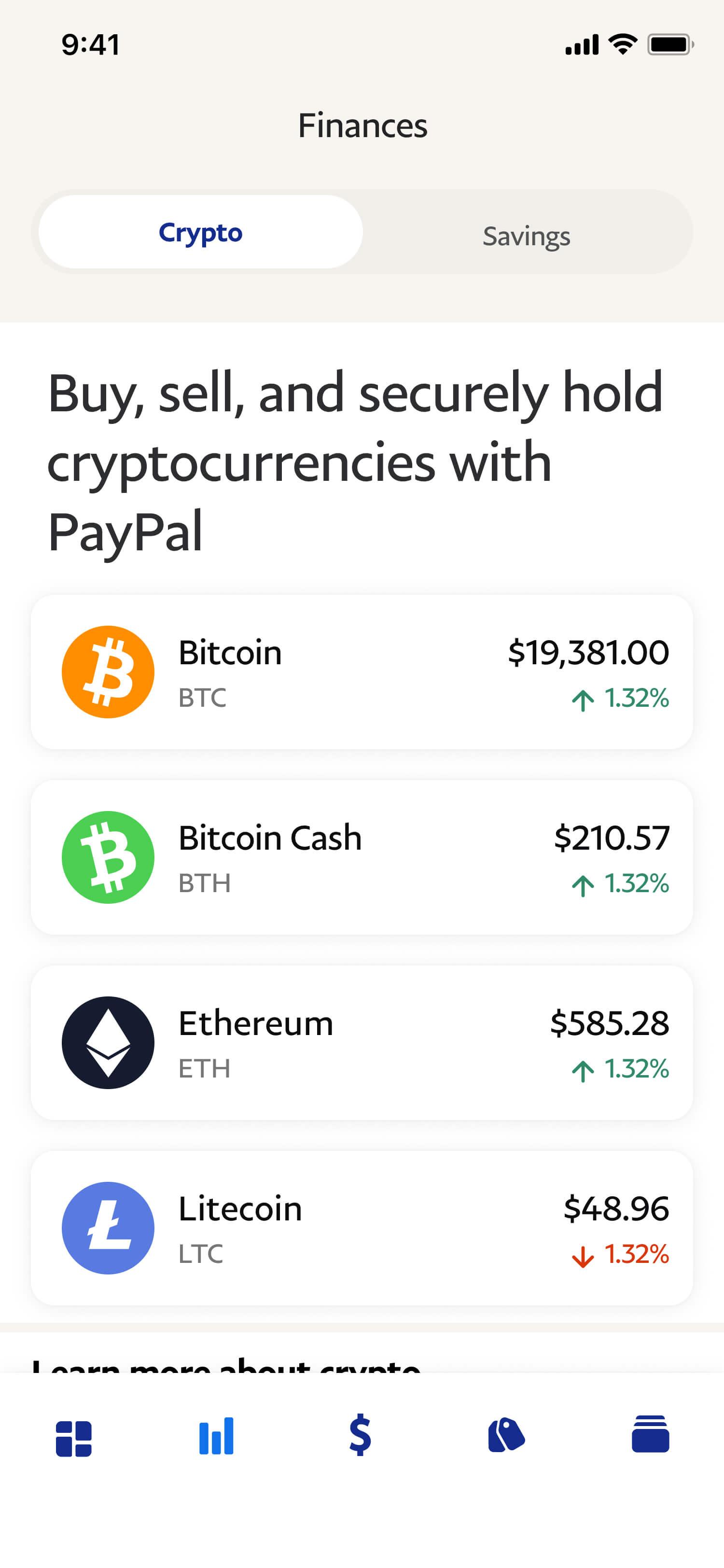 screenshot of crypto currency dashboard