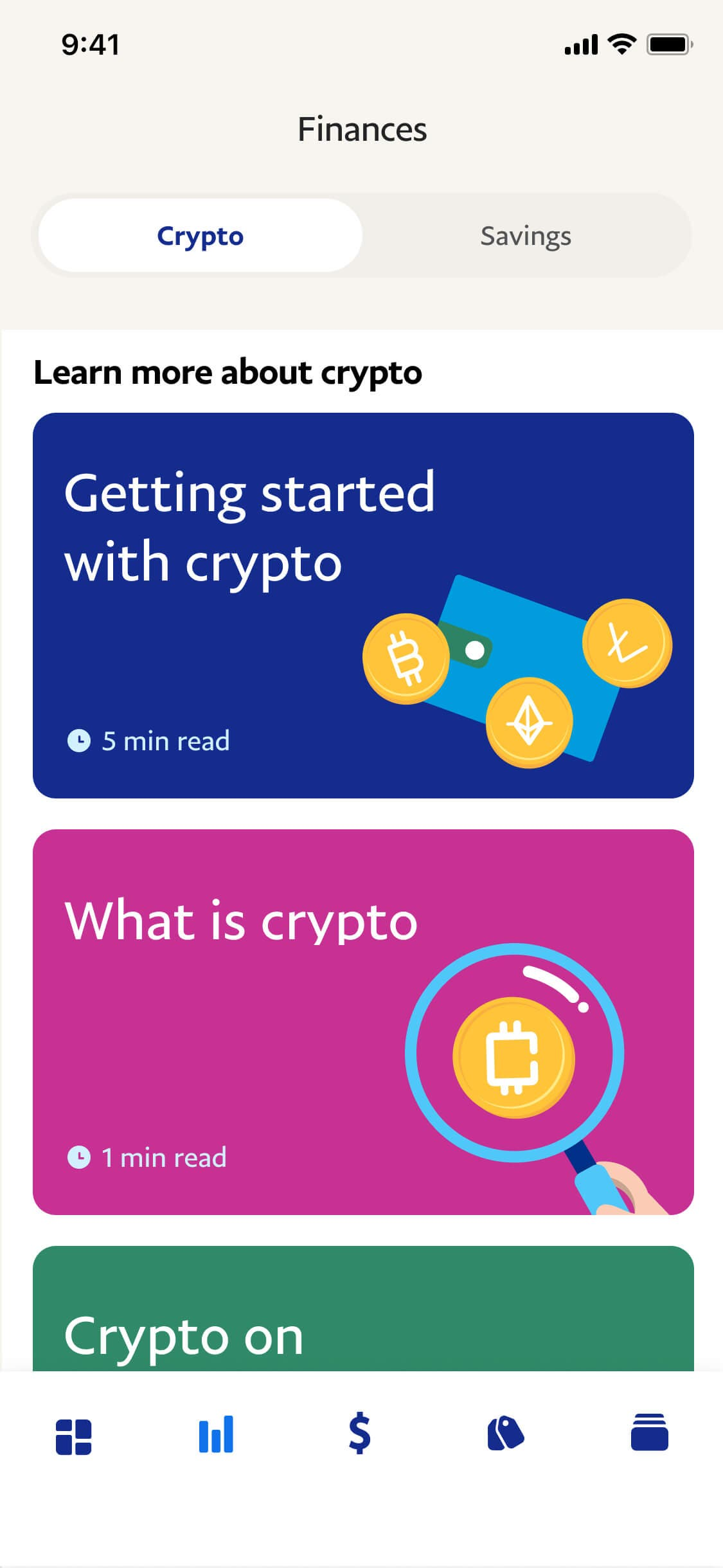 screenshot of education articles to read about crypto currency