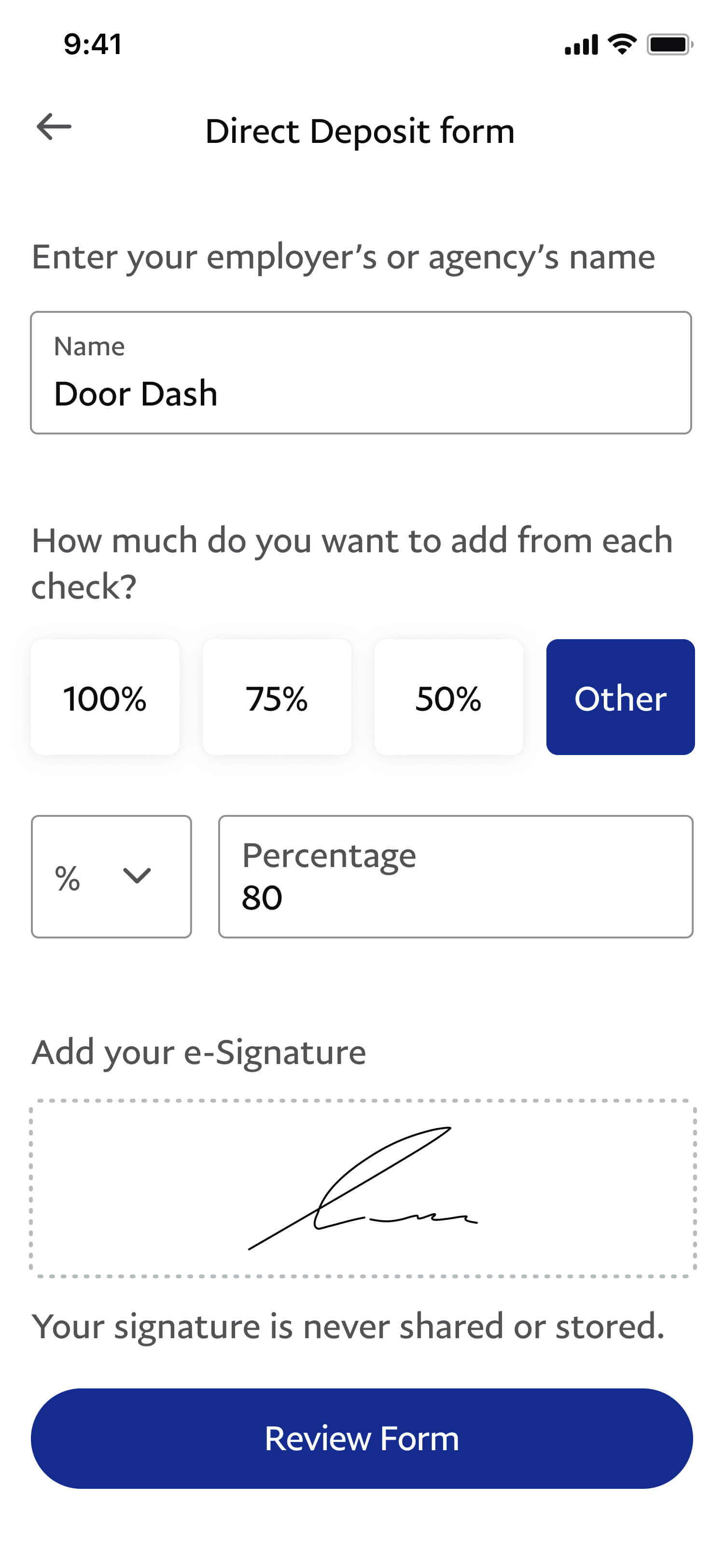 Confirm and submit your Direct Deposit form by selecting Review Form