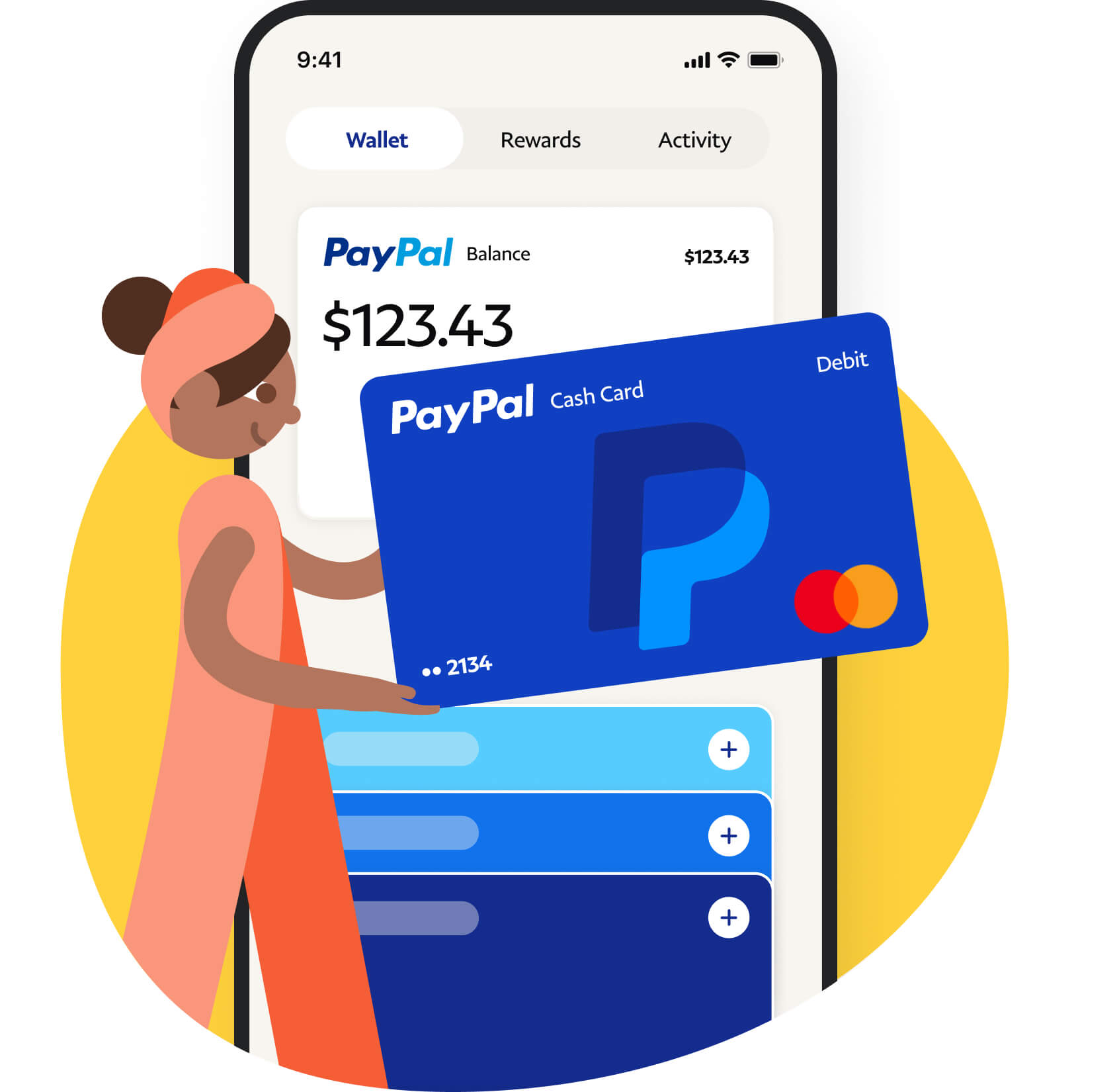 A lady holding paypal cash card