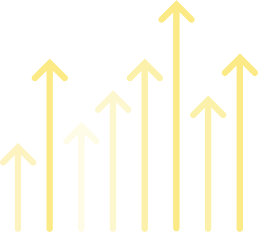 Multiple lines with arrows that point up from left to right representing business growth